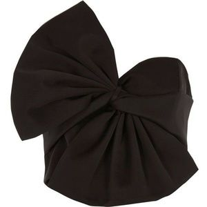 Black Over sized Bow Bandeau Satin Crop Top
